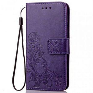 Кожаный чехол-книжка Four-leaf Clover с визитницей для Samsung Galaxy A70 2019 (A705) – Фиолетовый
