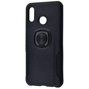 Ударопрочный чехол Leather Design With Ring (PC+TPU) под магнитный держатель для Huawei Honor Play — Black
