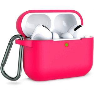 Чехол для наушников Silicone Case + карабин для Apple Airpods Pro – Розовый / Hot Pink