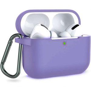 Чехол для наушников Silicone Case + карабин для Apple Airpods Pro – Сиреневый / Light purple