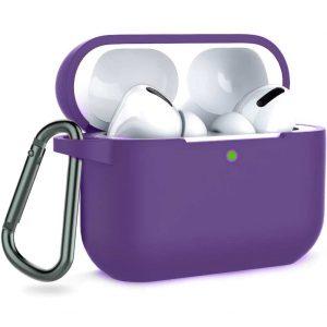 Чехол для наушников Silicone Case + карабин для Apple Airpods Pro – Фиолетовый / Purple