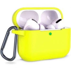 Чехол для наушников Silicone Case + карабин для Apple Airpods Pro – Желтый / Yellow