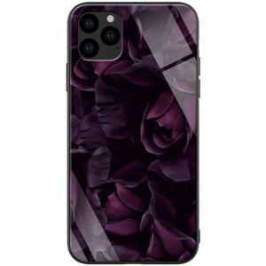 TPU+Glass чехол ForFun для Iphone 11 Pro Max – Фиолетовый/Розы