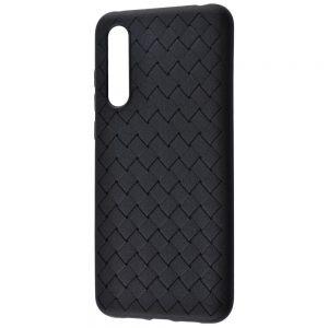 Силиконовый TPU чехол SKYQI плетеный под кожу для Xiaomi Mi 9 Lite / Mi CC9 – Черный