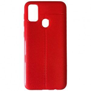 TPU чехол фактурный (с имитацией кожи) для Samsung Galaxy M30s / M21 – Red
