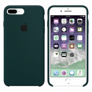 Оригинальный чехол Silicone Case с микрофиброй для Iphone 7 Plus / 8 Plus №49 – Dark Green