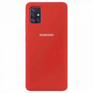 Оригинальный чехол Silicone Cover 360 с микрофиброй для Samsung Galaxy A51 – Красный / Dark Red