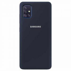 Оригинальный чехол Silicone Cover 360 с микрофиброй для Samsung Galaxy A51 – Синий / Dark Blue