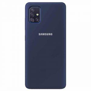 Оригинальный чехол Silicone Cover 360 с микрофиброй для Samsung Galaxy A51 – Синий / Navy Blue