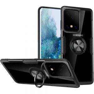 Чехол TPU+PC Deen CrystalRing с креплением под магнитный держатель для Samsung Galaxy S20 Ultra — Черный