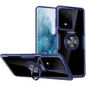 Чехол TPU+PC Deen CrystalRing с креплением под магнитный держатель для Samsung Galaxy S20 Ultra — Синий