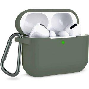 Чехол для наушников Silicone Case + карабин для Apple Airpods Pro – Оливковый / Olive