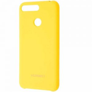 Оригинальный чехол Silicone Case с микрофиброй для Huawei Y6 Prime 2018 / Honor 7A Pro / 7C – Yellow