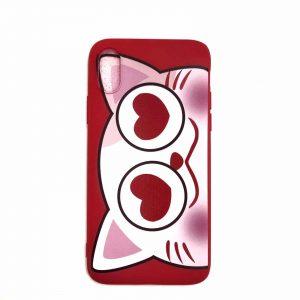 Силиконовый чехол Cute Love Cat для Iphone X / XS – Красный