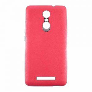 Силиконовый чехол хром с кожей для Xiaomi Redmi Note 3 / 3 Pro – Red