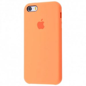 Оригинальный чехол Silicone Case с микрофиброй для Iphone 5 / 5s / 5c /SE №51 – Papaya