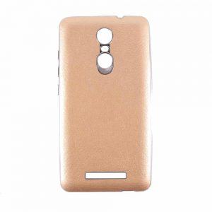Силиконовый чехол хром с кожей для Xiaomi Redmi Note 3 / 3 Pro – Gold
