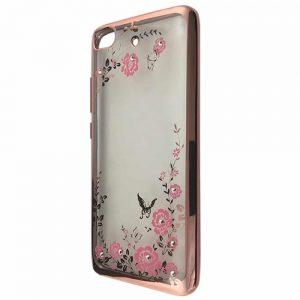 Прозрачный силиконовый TPU чехол с глянцевым ободком с цветами и стразами для Xiaomi Mi 5s – Rose gold