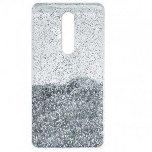 Cиликоновый чехол с блестками Fashion для Xiaomi Redmi 8 / 8A – Silver