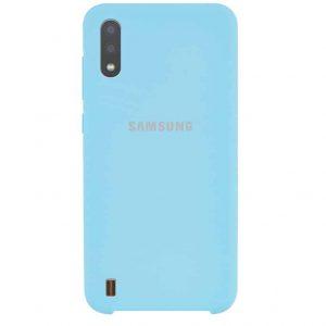 Оригинальный чехол Silicone Case с микрофиброй для Samsung Galaxy A01 – Бирюзовый / Light blue