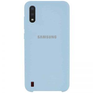 Оригинальный чехол Silicone Case с микрофиброй для Samsung Galaxy A01 – Голубой / Lilac Blue