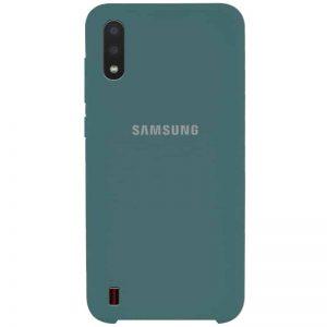 Оригинальный чехол Silicone Case с микрофиброй для Samsung Galaxy A01 – Зеленый / Pine green