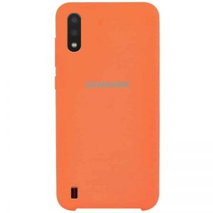 Оригинальный чехол Silicone Case с микрофиброй для Samsung Galaxy A01 – Оранжевый / Orange
