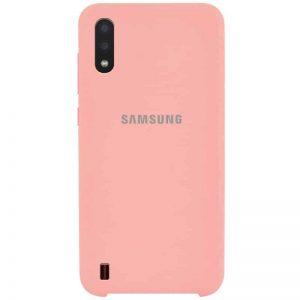 Оригинальный чехол Silicone Case с микрофиброй для Samsung Galaxy A01 – Розовый / Cotton Candy