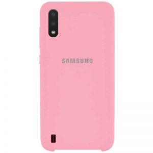Оригинальный чехол Silicone Case с микрофиброй для Samsung Galaxy A01 – Розовый / Pink
