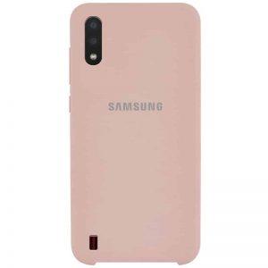 Оригинальный чехол Silicone Case с микрофиброй для Samsung Galaxy A01 – Розовый  / Pink Sand