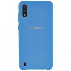 Оригинальный чехол Silicone Case с микрофиброй для Samsung Galaxy A01 – Синий / Blue