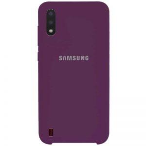 Оригинальный чехол Silicone Case с микрофиброй для Samsung Galaxy A01 – Фиолетовый / Grape