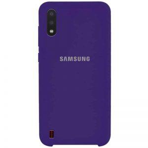 Оригинальный чехол Silicone Case с микрофиброй для Samsung Galaxy A01 – Фиолетовый / Purple