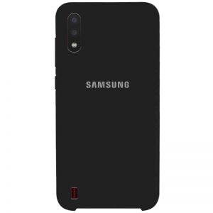 Оригинальный чехол Silicone Case с микрофиброй для Samsung Galaxy A01 – Черный / Black