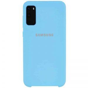 Оригинальный чехол Silicone Case с микрофиброй для Samsung Galaxy S20 – Бирюзовый / Light blue