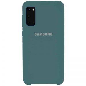 Оригинальный чехол Silicone Case с микрофиброй для Samsung Galaxy S20 – Зеленый / Pine green