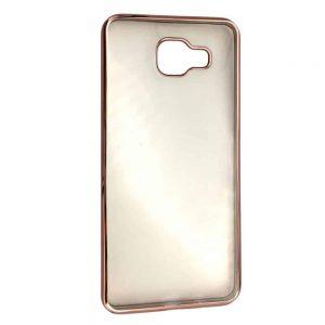 Прозрачный силиконовый чехол с глянцевой окантовкой для Samsung Galaxy A5 2016 (A510)  – Rose gold