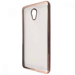 Прозрачный силиконовый чехол с глянцевым ободком для Meizu M5s – Rose gold