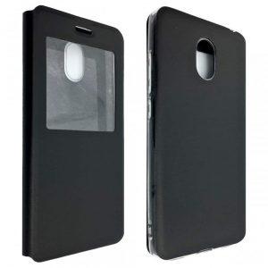 Кожаный чехол-книжка на силиконе для Meizu M6 – Black