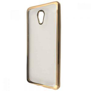 Прозрачный силиконовый чехол с глянцевым ободком для Meizu M5 – Gold