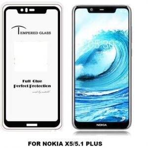 Защитное стекло 3D (5D) Tempered Glass Full Glue Cover на весь экран для Nokia 5.1 Plus / Nokia X5 – Black