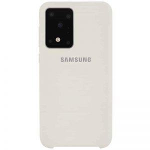 Оригинальный чехол Silicone Case с микрофиброй для Samsung Galaxy S20 Ultra – Бежевый / Antigue White