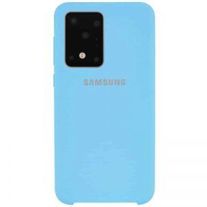 Оригинальный чехол Silicone Case с микрофиброй для Samsung Galaxy S20 Ultra – Бирюзовый / Light blue