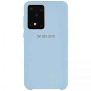 Оригинальный чехол Silicone Case с микрофиброй для Samsung Galaxy S20 Ultra – Голубой / Lilac Blue