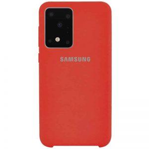 Оригинальный чехол Silicone Case с микрофиброй для Samsung Galaxy S20 Ultra – Красный / Red