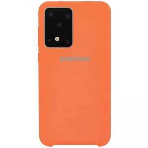 Оригинальный чехол Silicone Case с микрофиброй для Samsung Galaxy S20 Ultra – Оранжевый / Orange