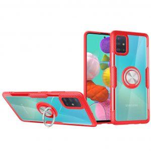 Чехол TPU+PC Deen CrystalRing с креплением под магнитный держатель для Samsung Galaxy A71 — Красный