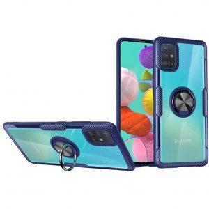 Чехол TPU+PC Deen CrystalRing с креплением под магнитный держатель для Samsung Galaxy A71 — Синий