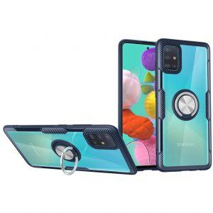 Чехол TPU+PC Deen CrystalRing с креплением под магнитный держатель для Samsung Galaxy A71 — Темно-синий