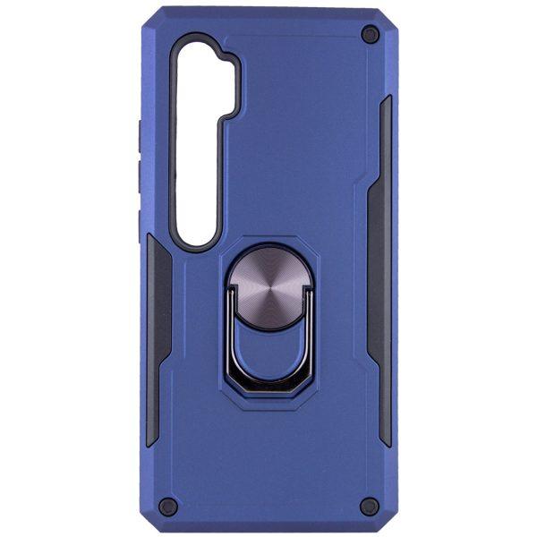 Ударопрочный чехол SG Ring Color под магнитный держатель с кольцом для Xiaomi Mi Note 10 / 10 Pro — Темно-синий